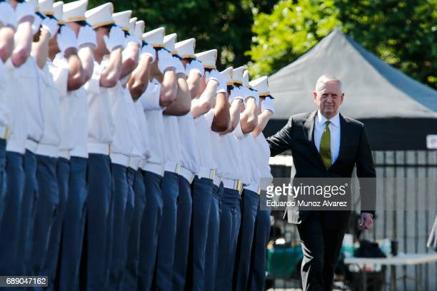 Defense Secretary Jim Mattis arrive to attend the U.S. Military Academy Class of 2017 graduation ceremony at Michie Stadium on May 27, 2017 in West...