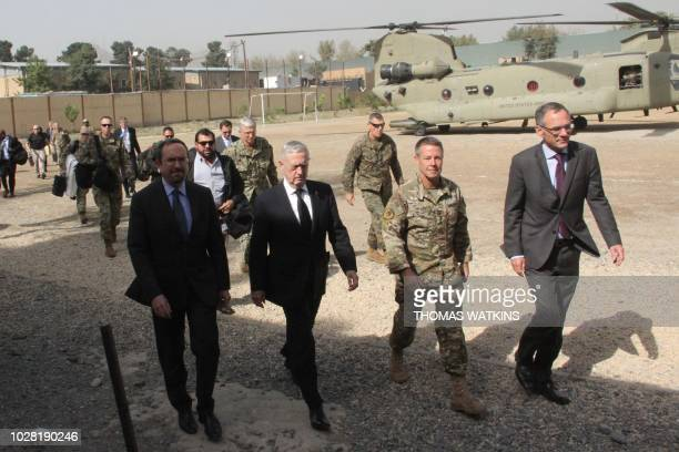 US Defense Secretary Jim Mattis arrives at NATO's Resolute Support mission in Kabul on September 7 2018 Mattis landed in Kabul on September 7 for an...