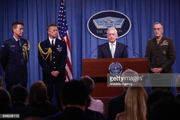 S Defense Secretary Jim Mattis briefs members of the media on Syria at the Pentagon in Washington United States on April 13 2018