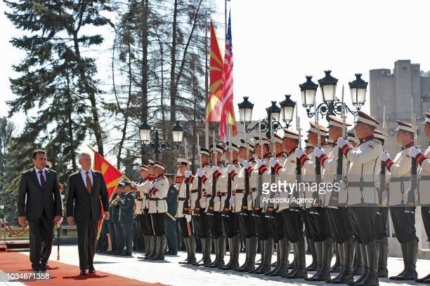 S Defense Secretary Jim Mattis is welcomed by Macedonian Prime Minister Zoran Zaev with an official welcoming ceremony during his official visit in...