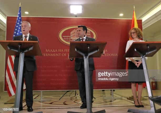 S Defense Secretary Jim Mattis Macedonian Prime Minister Zoran Zaev and Macedonian Defence Minister Radmila Shekerinska attend a press conference in...