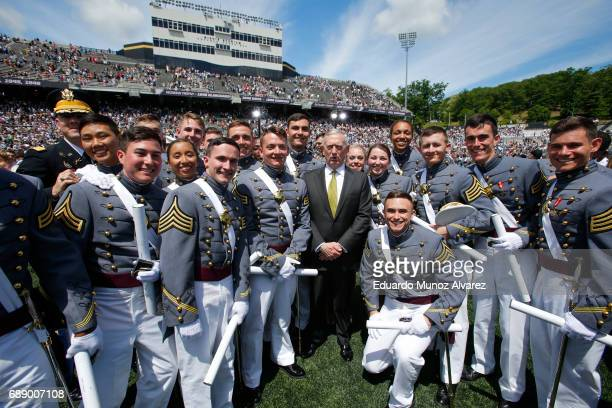 Defense Secretary Jim Mattis poses for a picture with West Point graduates at the conclusion of the U.S. Military Academy Class of 2017 graduation...