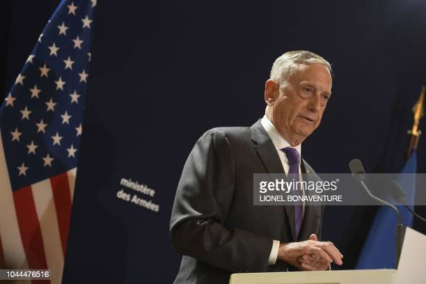 US Defense Secretary Jim Mattis speaks during a press conference after a meeting with French Defence Minister at the French Defence ministry in Paris...