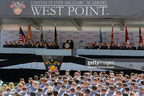 S Defense Secretary Jim Mattis speaks to West Point graduates during the US Military Academy Class of 2017 graduation ceremony at Michie Stadium on...