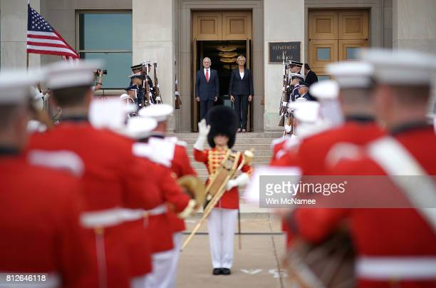 S Defense Secretary Jim Mattis welcomes Italian Defense Minister Roberta Pinotti to the Pentagon during an honor cordon ceremony July 11 2017 in...