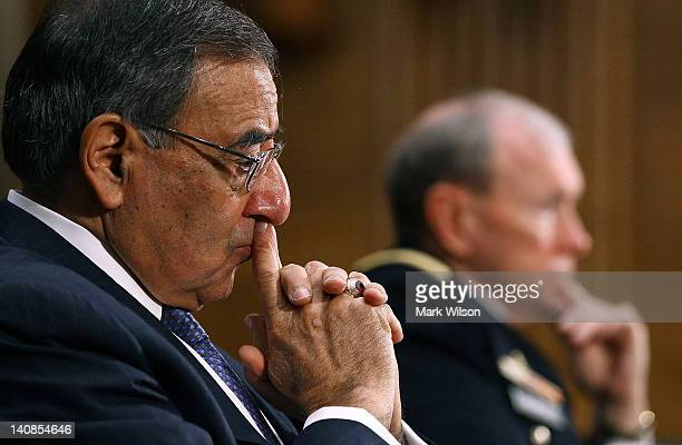 Defense Secretary Leon Panetta and Chairman of the Joint Chiefs of Staff Gen Martin Dempsey participate in a Senate Armed Services Committee hearing...