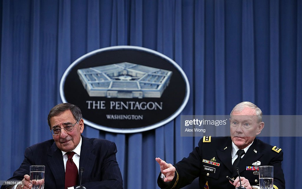U.S. Defense Secretary Leon Panetta (L) and Chairman of the Joint Chiefs of Staff Gen. Martin Dempsey participate in a news briefing at the Pentagon January 10, 2013 in Arlington, Virginia. Panetta and Dempsey announced that the Pentagon will begin reversible sequester preparations including pulling back military maintenance not critical to immediate missions, freezing civilian hiring and other steps against a possible $45 billion spending cut that could be in effect in March.