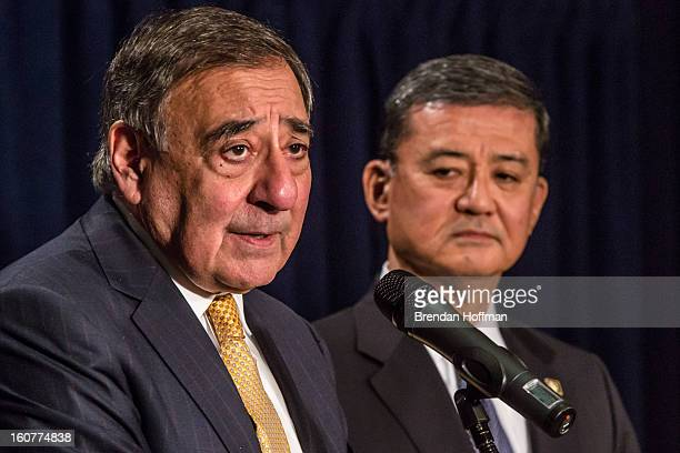 Defense Secretary Leon Panetta and Veterans Affairs Secretary Eric Shinseki make statements to the media following a meeting on February 5 2013 in...