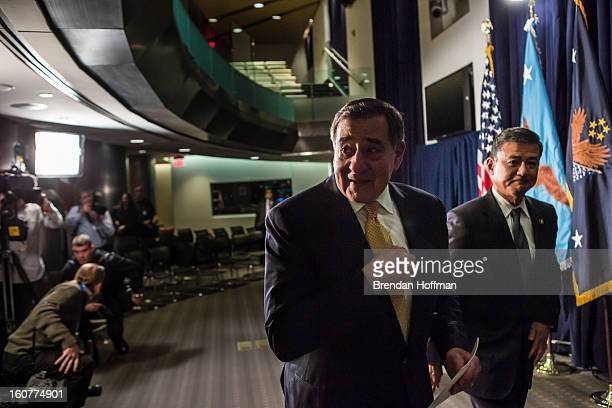 Defense Secretary Leon Panetta and Veterans Affairs Secretary Eric Shinseki leave after making statements to the media following a meeting on...
