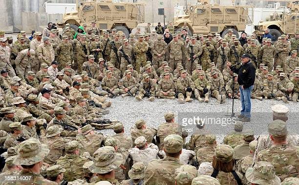 S Defense Secretary Leon Panetta speaks to the troops during a visit to Kandahar Airfield on December 13 2013 Kandahar Afghanistan Secretary Panetta...