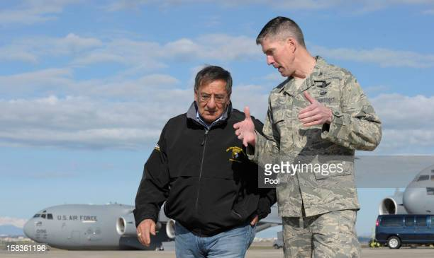 Defense Secretary Leon Panetta talks with Col Christopher E Craige Commander of the 39th Air Base Wing at Incirlik Air Base on December 14 2012 in...