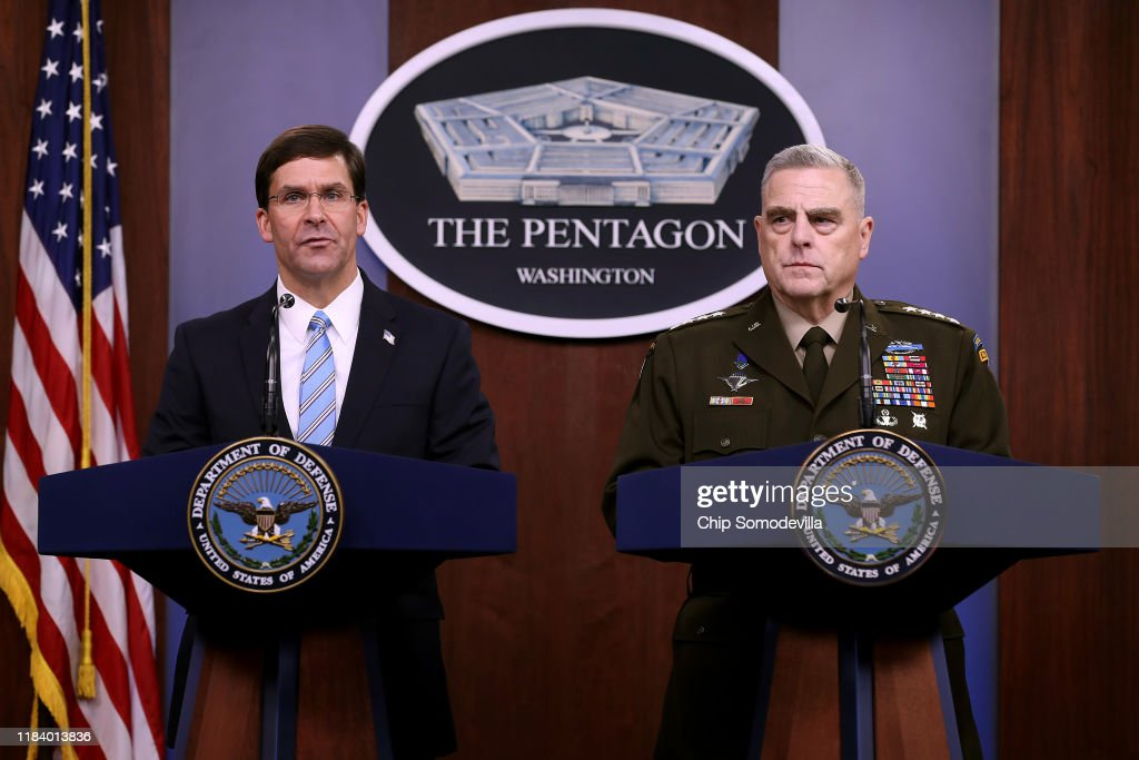 DOD Secretary Esper And Chairman Of Joint Chiefs Milley Discuss Al-Baghdadi Raid : News Photo