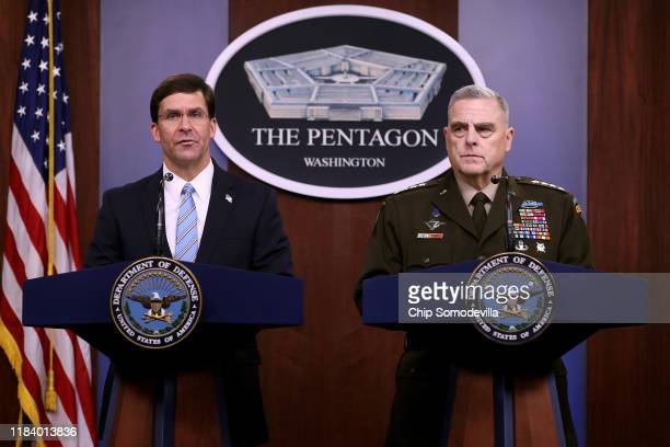 S Defense Secretary Mark Esper and Chairman of the Joint Chiefs of Staff Gen Mark Milley hold a news conference at the Pentagon the day after it was...