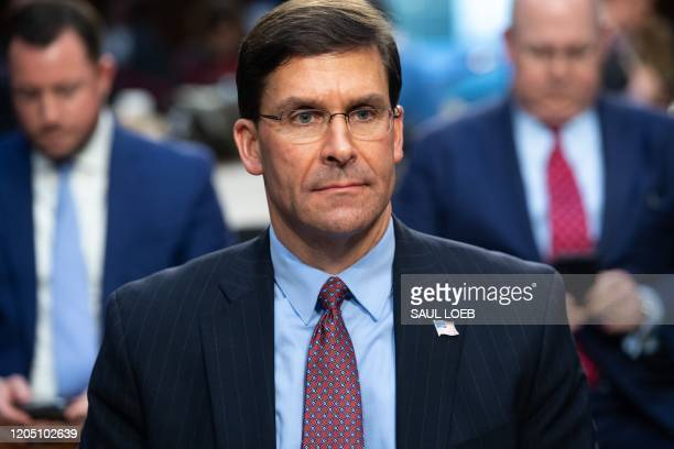 Defense Secretary Mark Esper arrives to testify about the Defense department budget during a Senate Armed Services Committee hearing on Capitol Hill...