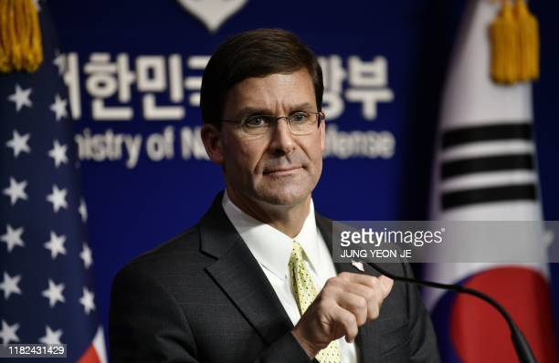 US Defense Secretary Mark Esper attends a joint press conference with South Korean Defence Minister Jeong Kyeongdoo after the 51st Security...