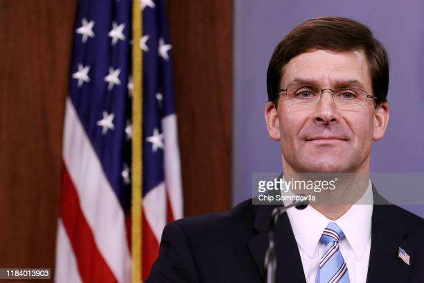 S Defense Secretary Mark Esper holds a news conference at the Pentagon the day after it was announced that Abu Bakr alBaghdadi was killed in a US...