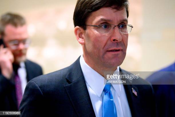 US Defense Secretary Mark Esper leaves the Congressional Auditorium on Capitol Hill in Washington DC on January 8 after a closed briefing on the...