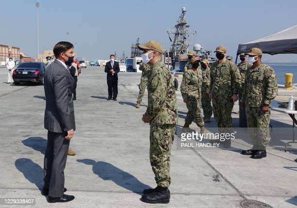 Defense Secretary Mark Esper prepares to tour on October 28, 2020 US naval vessels at the Naval Forces Central Command base in the Gulf kingdom of...