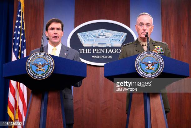 US Defense Secretary Mark Esper with Chairman of the Joint Chiefs of Staff General Joseph Dunford speaks during a press briefing at the Pentagon in...