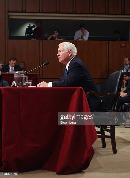 Defense Secretary nominee Robert Gates testifies at a Senate Armed Services Committee hearing on his confirmation December 5 2006 in Washington DC...