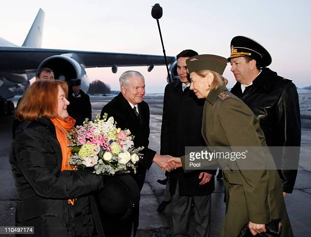 S Defense Secretary Robert Gates and his wife Becky are greeted upon their arrival on March 21 2011 in St Petersburg Russia US and coalition forces...