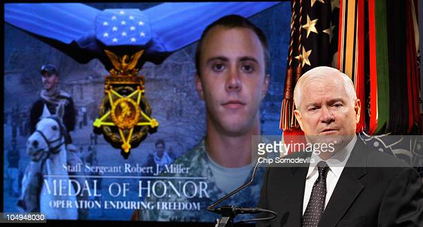 S Defense Secretary Robert Gates delivers remarks during a ceremony to posthumously induct Medal of Honor recipient US Army Staff Sgt Robert Miller...