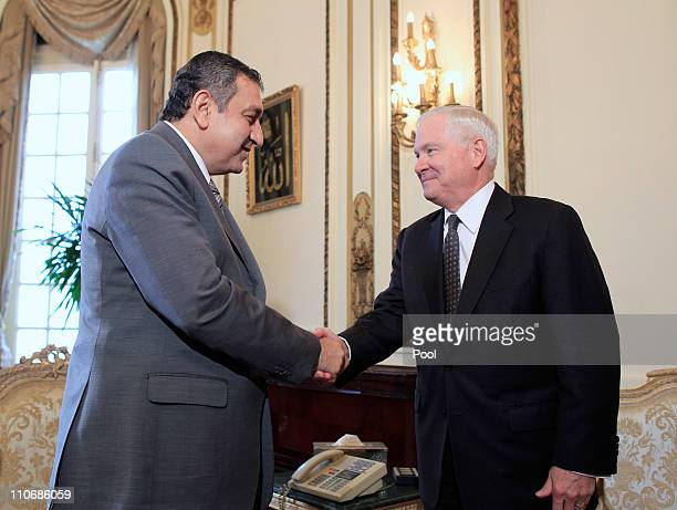 S Defense Secretary Robert Gates meets with Egypt's interim Prime Minister Essam Sharaf March 23 2011 in Cairo Egypt It is Gates' first visit to the...