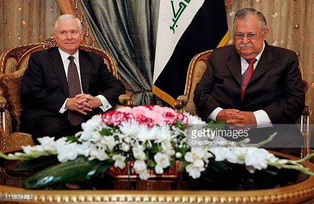 S Defense Secretary Robert Gates meets with Iraq President Jalali Talabani at the presidential palace April 7 2011 in Baghdad Iraq Gates is meeting...