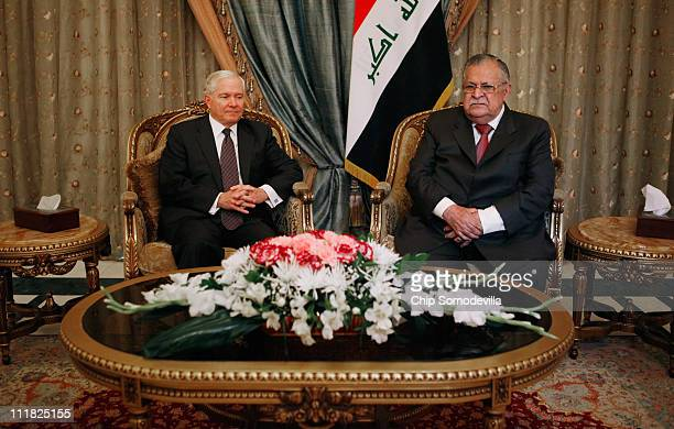 S Defense Secretary Robert Gates meets with Iraqi President Jalal Talabani at the presidential palace April 7 2011 in Baghdad Iraq Gates is meeting...