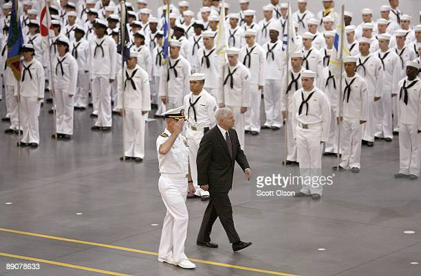 S Defense Secretary Robert Gates reviews recruits with Captain John Peterson Commanding Officer of Recruit Training Command during a graduation...