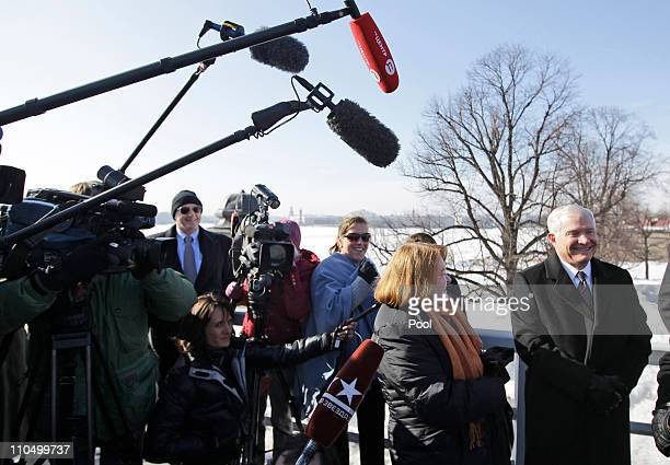 S Defense Secretary Robert Gates stands with his wife Becky as he visits the Peter and Paul Fortress on March 21 2011 in St Petersburg Russia Gates...