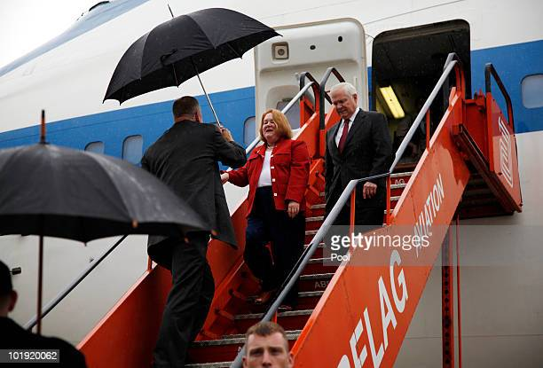 S Defense Secretary Robert M Gates and his wife Becky arrive on June 9 2010 at Brussels National Airport in Brussels Belgium Gates will meet with...