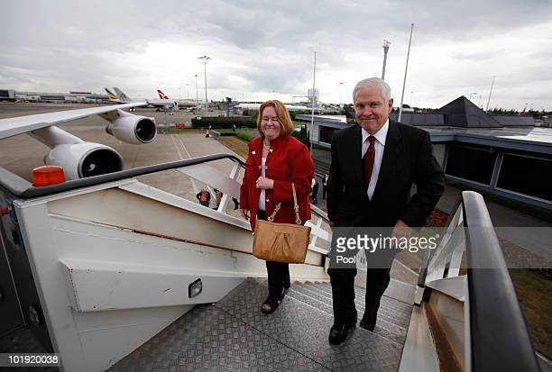 S Defense Secretary Robert M Gates and his wife Becky board a US Military Aircraft on June 9 at London's Heathrow Airport en route to Brussels Gates...