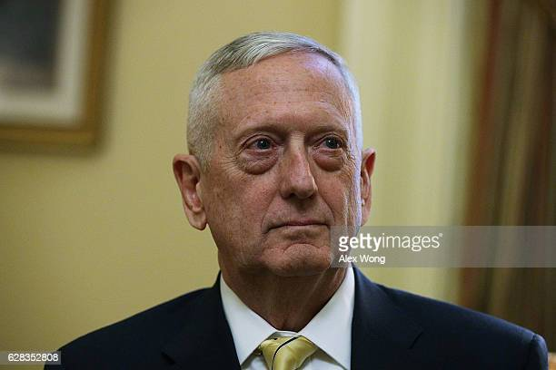S Defense Secretarynominee retired Marine Gen James Mattis is seen during a meeting with Senate Majority Leader Sen Mitch McConnell December 7 2016...