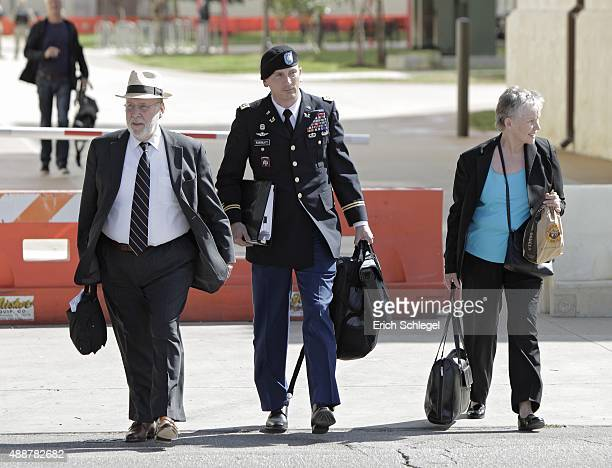 Defense team for Bowe Bergdahl from left Gene Fidell Lt Col Franklin Rosenblatt and consultant Dr Mary Connell leave the US Army Installation...