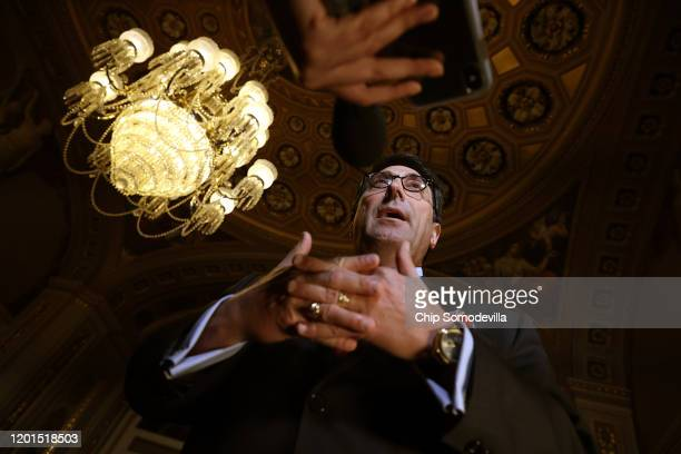 Defense team member and President Donald Trump's personal lawyer Jay Sekulow talks to journalists in the Senate Reception Room at the U.S. Capitol...