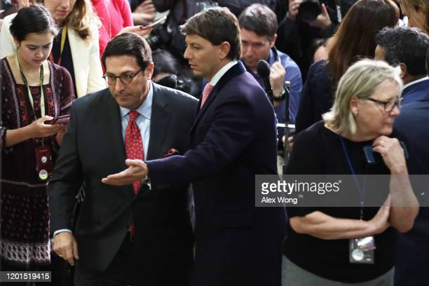 Defense team member and President Donald Trump's personal lawyer Jay Sekulow leaves with White House Deputy Press Secretary Hogan Gidley after he...