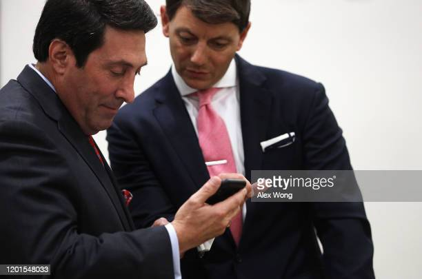 Defense team member and President Donald Trump's personal lawyer Jay Sekulow waits with White House Deputy Press Secretary Hogan Gidley to speak at a...