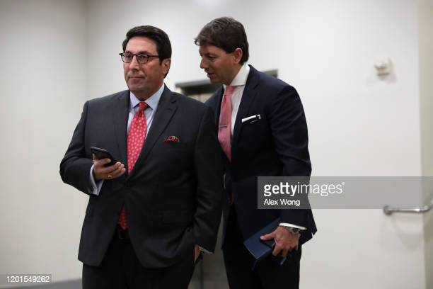 Defense team member and President Donald Trump's personal lawyer Jay Sekulow waits with White House Deputy Press Secretary Hogan Gidley for his turn...