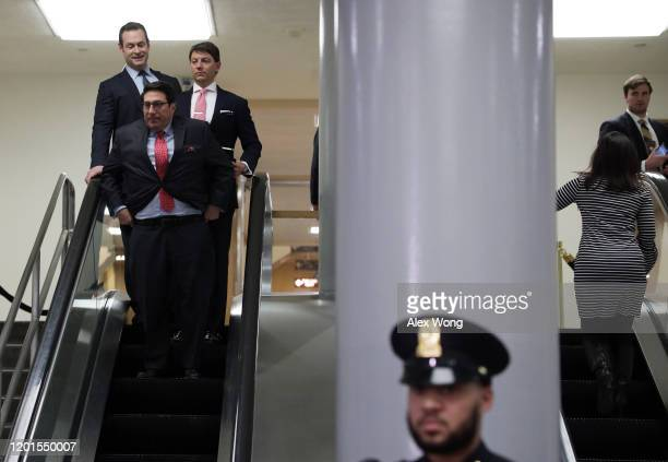 Defense team member and President Donald Trump's personal lawyer Jay Sekulow and White House Deputy Press Secretary Hogan Gidley arrive to speak to...