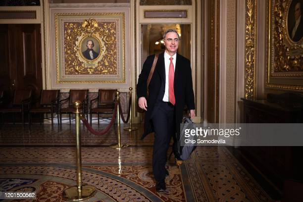 Defense team member and White House Counsel Pat Cipollone arrives at the U.S. Capitol for the third day of President Donald Trump's impeachment trial...