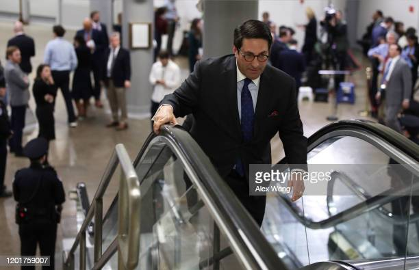 Defense team member Jay Sekulow Donald Trump's personal lawyer leaves after he spoke to members of the media during a break of the Senate impeachment...