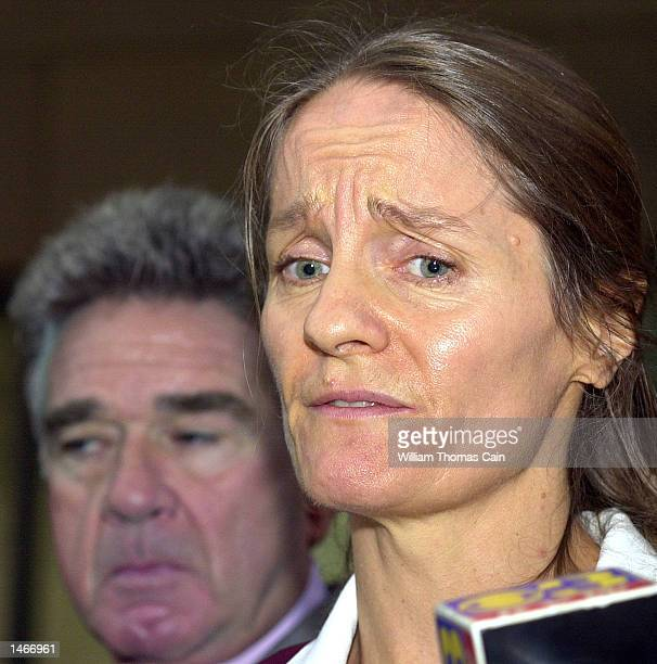 Defense witness Ann Susan Cavers a selfproclaimed psychic speaks to the media after testifying at the trial of Ira Einhorn outside the Criminal...