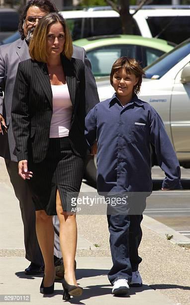 Defense witness Prudence Brando granddaughter of the late US actor Marlon Brando arrives with her mother Karen and defense team member Jesus Castillo...