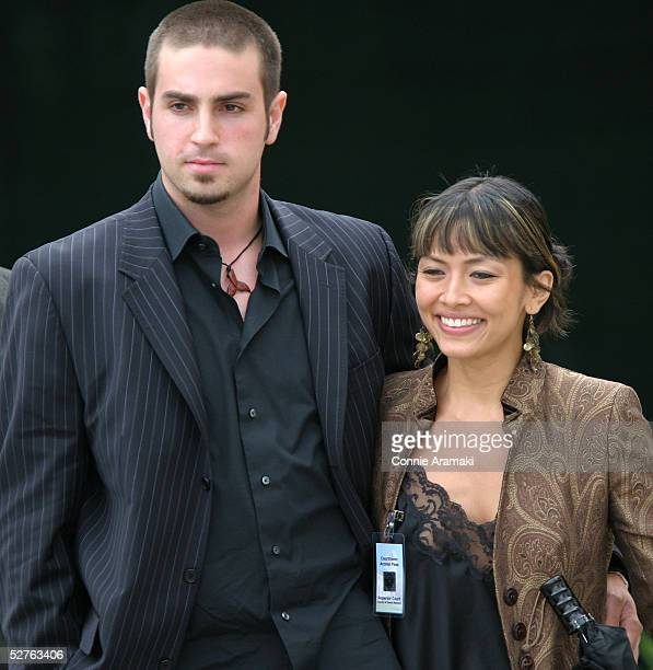 Defense witness Wade Robson and unidentified woman and exit the Santa Barbara County Superior Court for Michael Jackson's child molestation trial May...