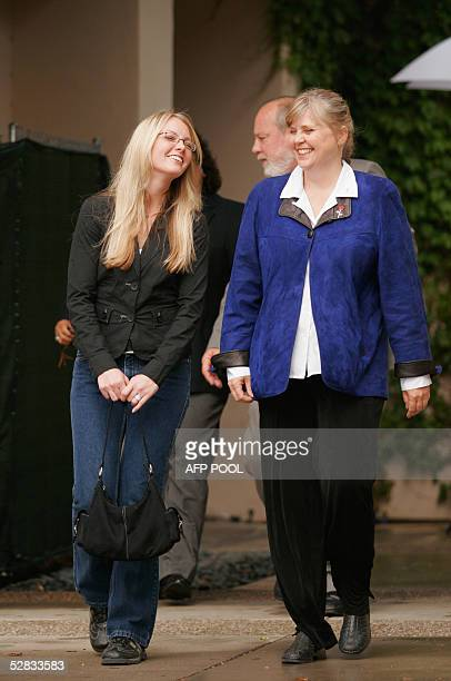 Defense witnesses Dr Jean Seamount and Tiffany Haynes leave the Michael Jackson's child molestation trial on 16 May 2005 at the Santa Barbara County...
