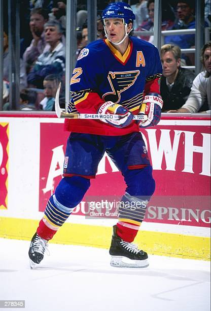 Defenseman Al MacInnis of the St Louis Blues moves down the ice during a game against the Anaheim Mighty Ducks at Arrowhead Pond in Anaheim...
