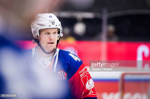 Defenseman Alexander Bonsaksen of Tappara Tampere looks on during the warmups prior to the Champions Hockey League Round of 32 match between Tappara...