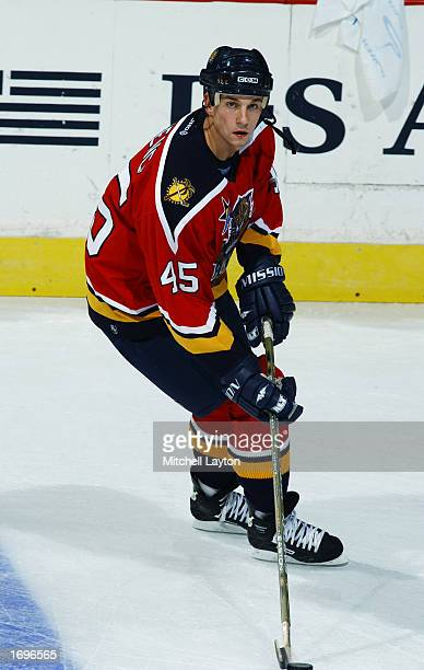 Defenseman Brad Ference of the Florida Panthers skates in warmups during the NHL game against the Washington Capitals on November 7 2002 at the MCI...