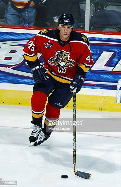 Defenseman Brad Ference of the Florida Panthers skates with the puck during the NHL game against the Washington Capitals on November 7 2002 at the...